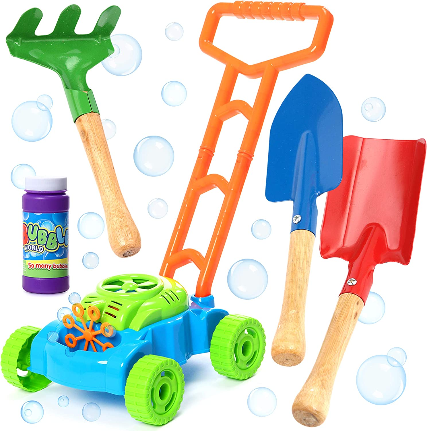 Bubble Lawn Mower Bundle with Kids Shovel and Rake Gardening Tools Set Features Metal Kids Shovel with Wooden Handles & Battery Operated Bubble Mower