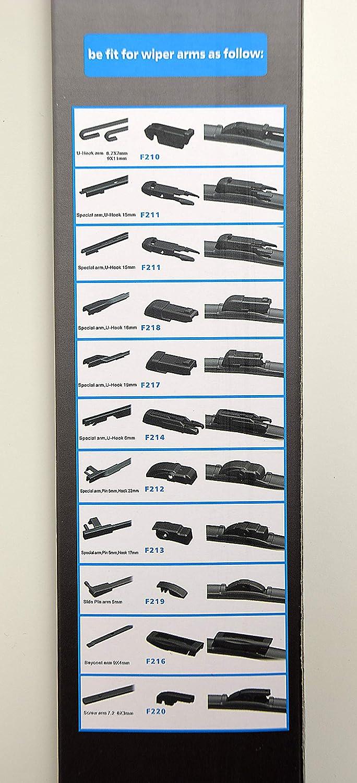 2 x Front Blades 24 600mm S981//24//19 AeroFlat Wiper Blades//Kit 470mm // 19