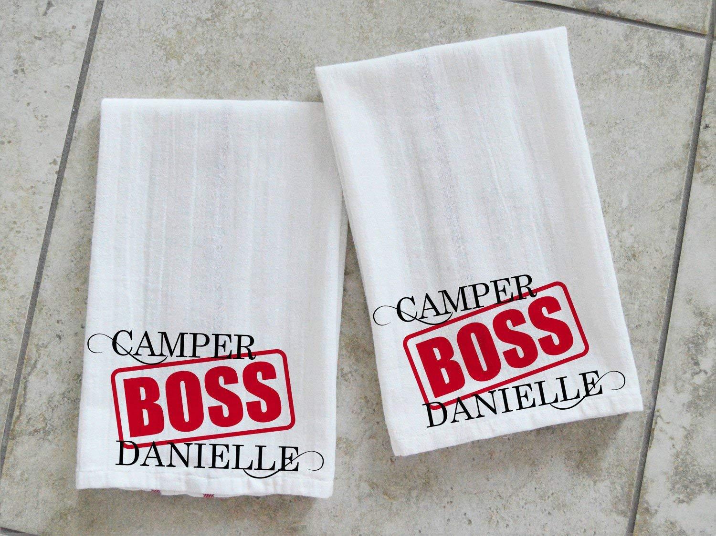 Camper Boss Chef Toallas de Cocina Personalizadas RV Decor Plato Toallas Traval Remolque Regalo Dos Toallas TEA-005, poliéster, Colorful, ...