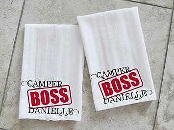 Camper Boss Chef Toallas de Cocina Personalizadas RV Decor Plato Toallas Traval Remolque Regalo Dos Toallas