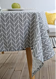 Perfect Art Small Fresh Geometric Cotton And Linen Tablecloth Cloth Rectangular Tea  Table Desk Cover(Grey