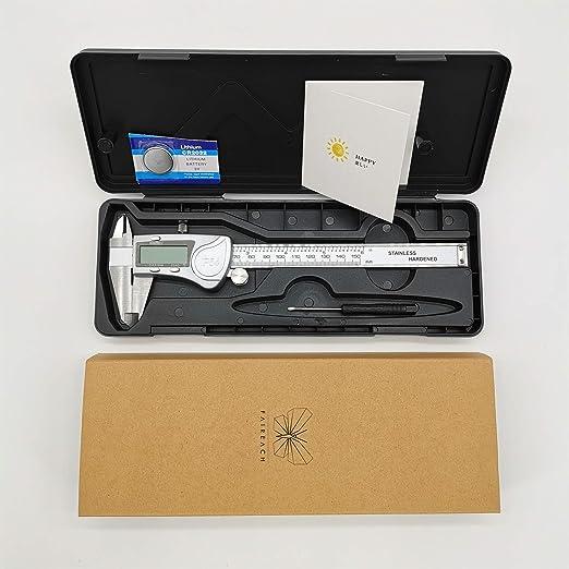 Calibrador digital electrónico Herramienta de medición de 6 pulgadas Pulgadas/MM de acero inoxidable, pantalla métrica LCD, pulgadas de medición ...