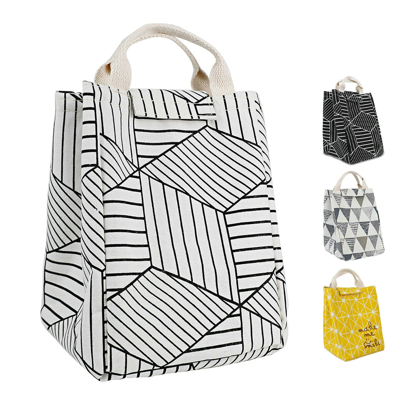 HOMESPON Reusable Lunch Bags Printed Canvas Fabric Insulated Waterproof Aluminum Foil, Lunch Box Women, Kids, Students (Geometric Pattern-White)
