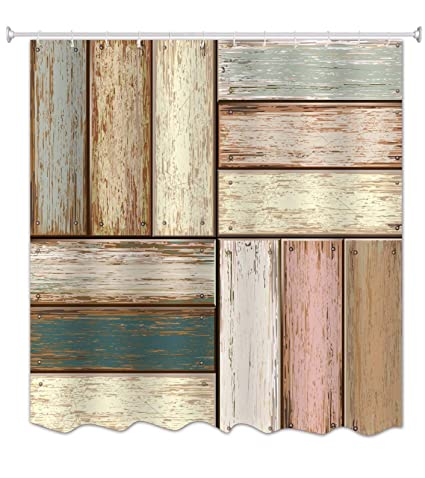 A Monamour 3d Print Wood Art Multicolored Painted Distressed Wood Floor Texture Waterproof Fabric Polyester Shower Curtain For Bathroom Decor 165x180