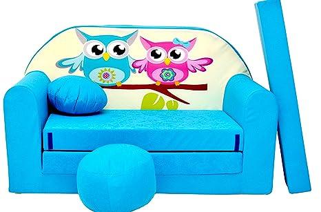 PRO COSMO Sofá Cama B30, para niños con Puff/reposapiés/Almohada, de Tela, Color Azul, 168 x 98 x 60 cm