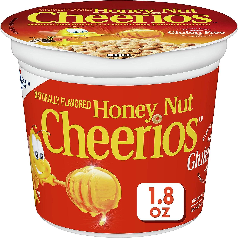 Honey Nut Cheerios, Breakfast Cereal Cups, Whole Grain Oats, Gluten Free, 1.8 oz, 12ct