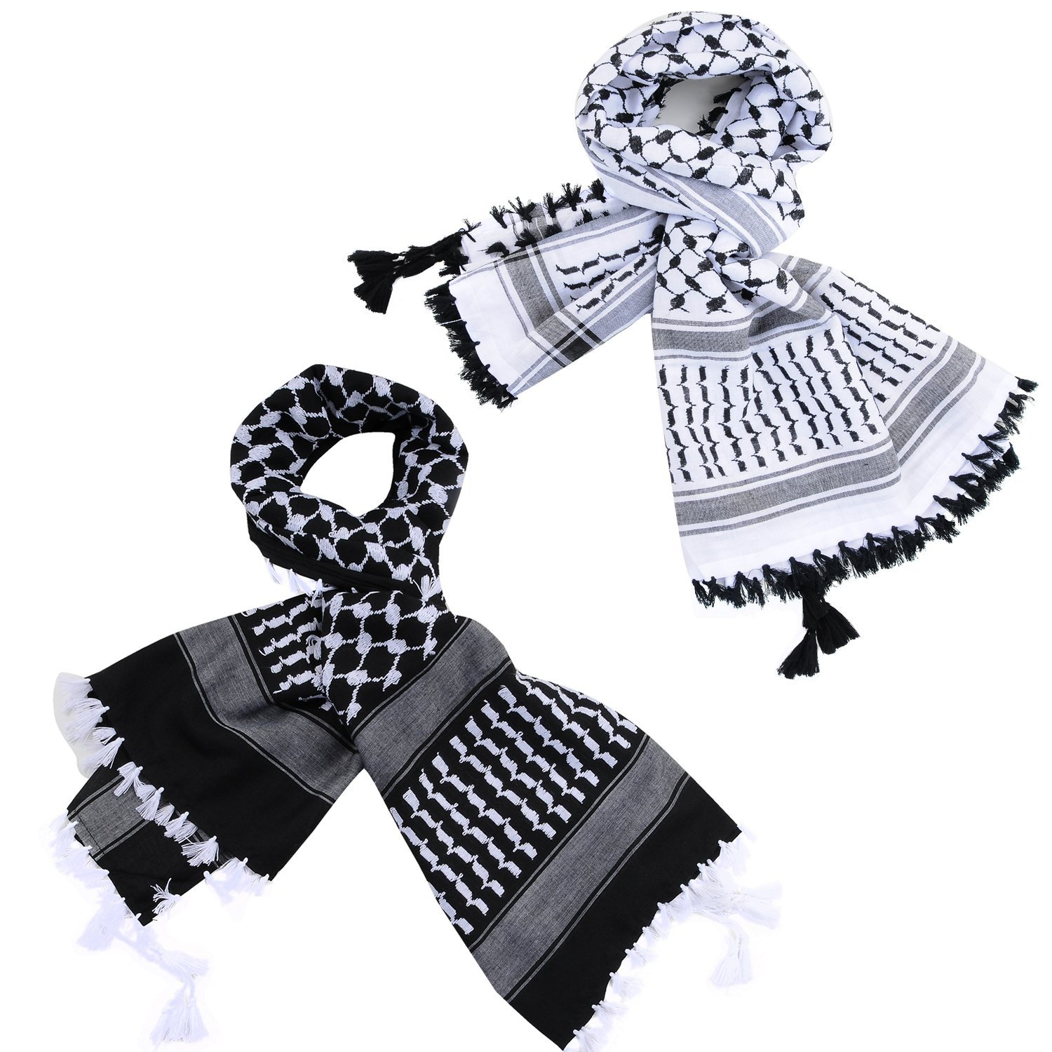 Micoop Large Size Premium Shemagh Scarf Arab Military Tactical Desert Scarf Wrap with Fine Tassels, 2-Pack (White Black & Black White) by Micoop (Image #1)