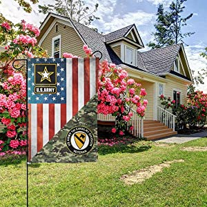 "US Army Veteran 1st Cavalry Division Garden Flag Welcome Banner for Patio Lawn Party Yard Home Outdoor Decor, On Both Sides, 12.5""x18"" / 28""x40"""