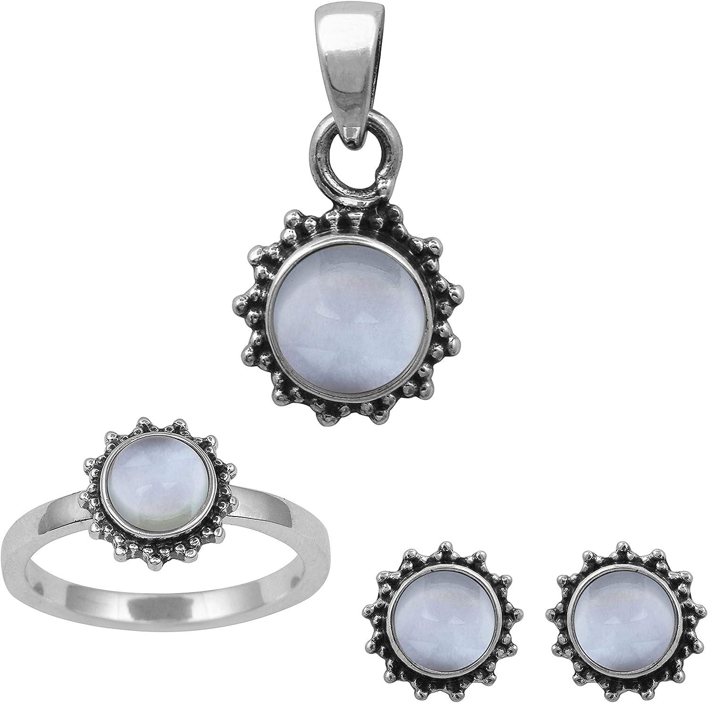 Shine Jewel 925 Plata esterlina Topacio Azul Solitario de Piedras Preciosas Conjunto de Bisel Anillo de patrón de Flor, Pendiente, Colgante Conjunto Joyas