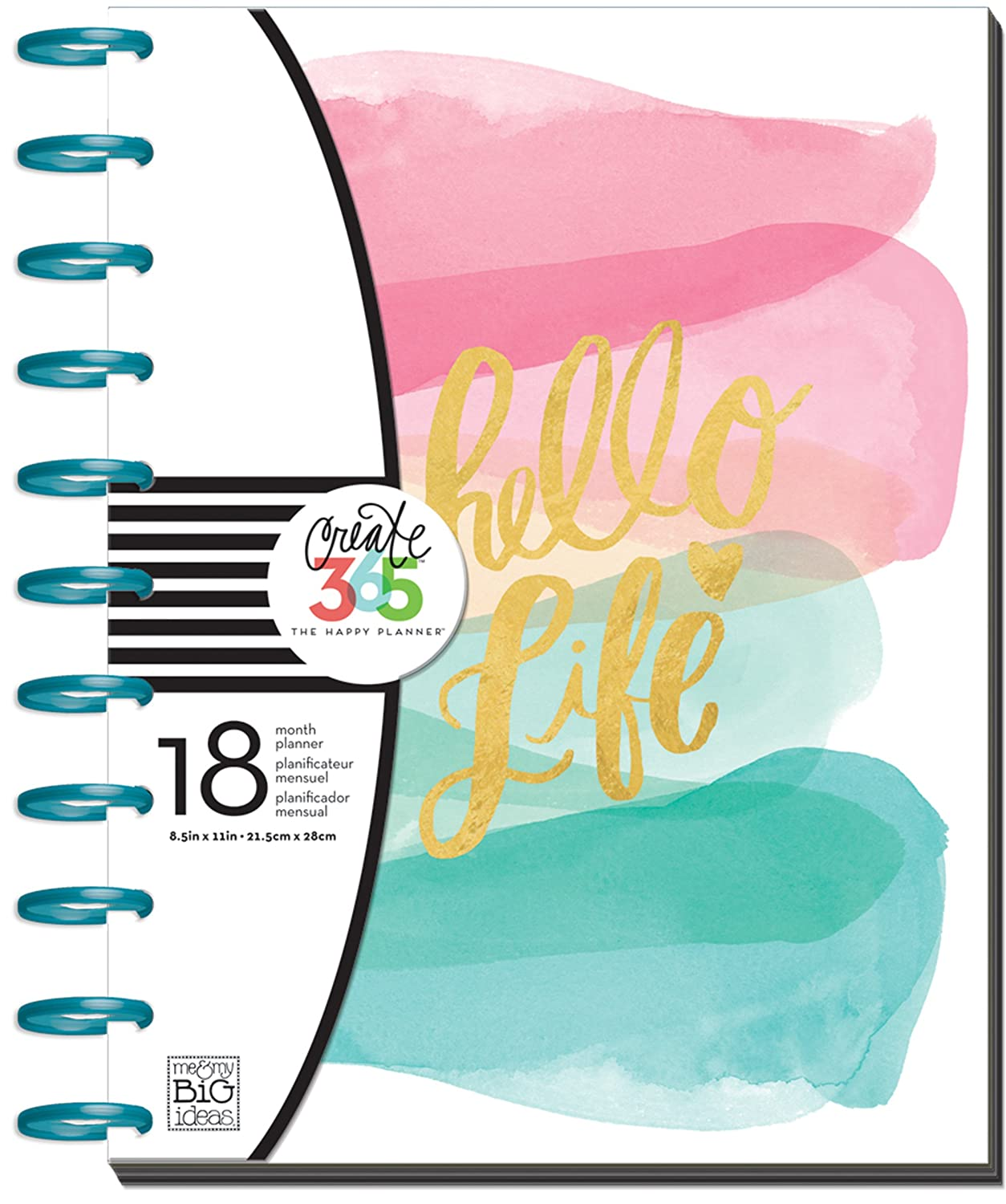me & My Big Ideas Create 365 The Happy Planner Mini, Stay Positive (Horizontal), 12 Month Undated PLNM-19