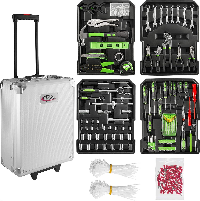 TecTake Maletín con herramientas de aluminio con 699pc piezas maleta trolley caja | Mango telescópico | Ruedas de fácil desplazamiento