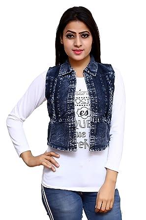 f6ab73eebc52 ELENDRA Girls Casual WEAR Slim FIT Denim Jacket with White TOP (Black, Free  Size