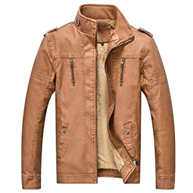 cd0e1b868 Amazon.com: Men's Vintage Casual Men Faux Leather Jacket Stand ...