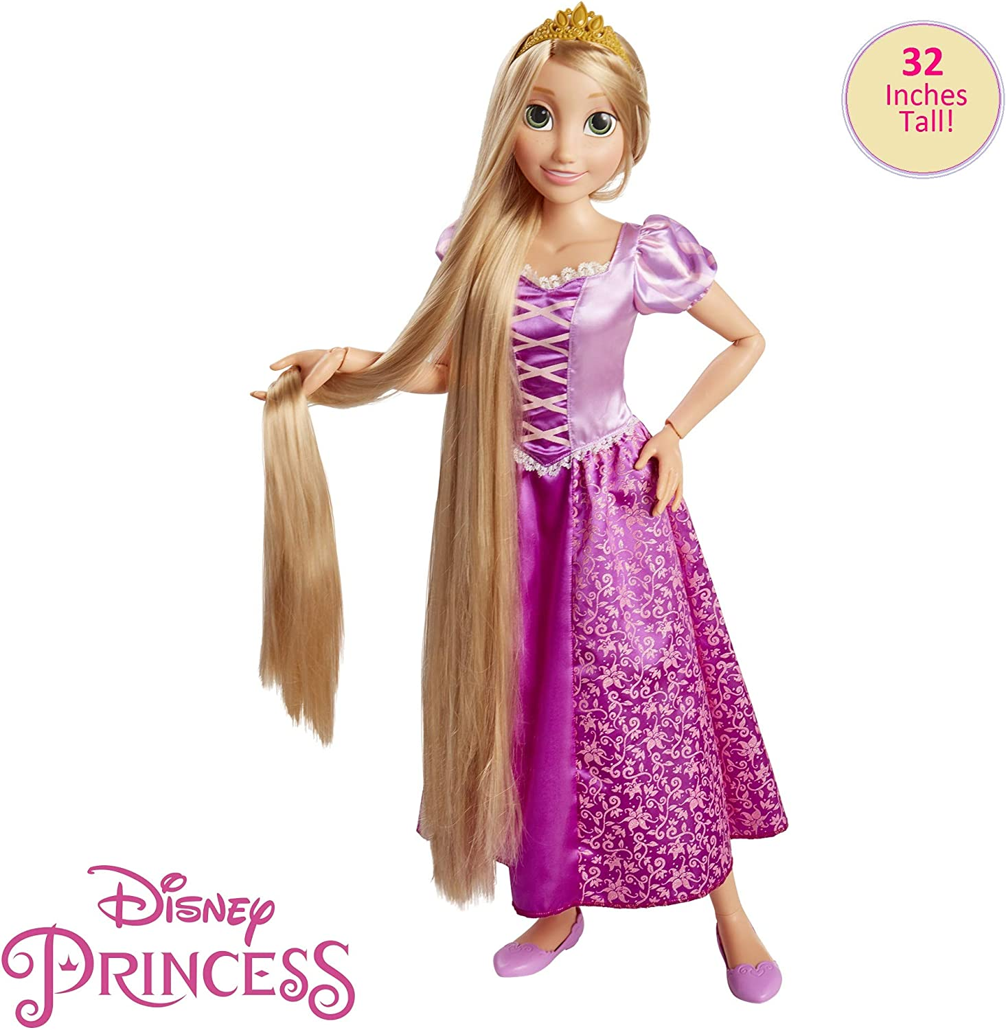 "Disney Princess Rapunzel 32"" Playdate, My Size Articulated Doll, Comes with Brush to Comb Her Long Golden Locks, Movie Inspired Purple Dress, Removable Shoes & A Tiara"