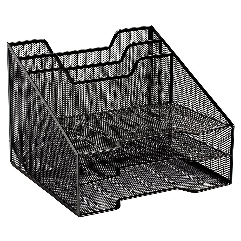 Rolodex 1742322 Combination Sorter Five Sections Mesh 12 1/2 x 11 1/2 x 9 1/2 Black