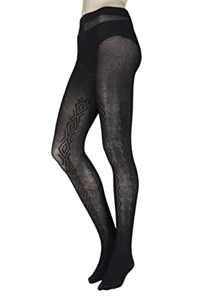 6ccfe85bfe266 Ladies 1 Pair Charnos Chunky Cotton Cable Knit Tights: Amazon.co.uk:  Clothing