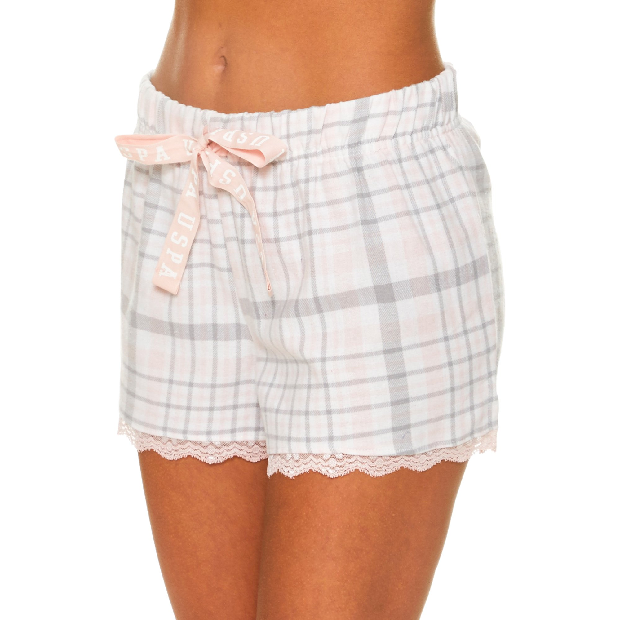 U.S. Polo Assn.. Womens Plaid Flannel Pajama Lounge Shorts with Lace Trim White Large