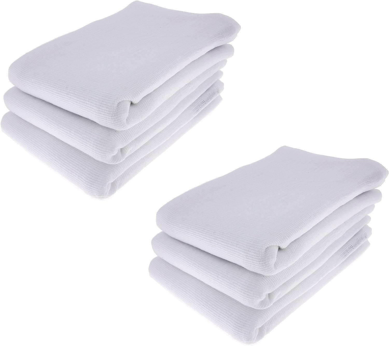 6 x – Trapo/Paño de cocina Paño de 100% algodón en blanco: Amazon.es: Hogar
