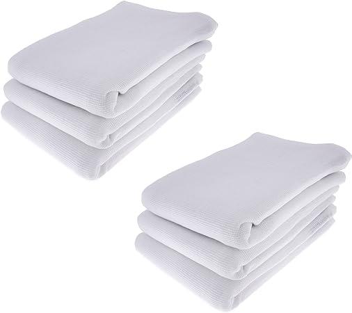 6 x – Trapo/Paño de cocina Paño de 100% algodón en blanco: Amazon ...