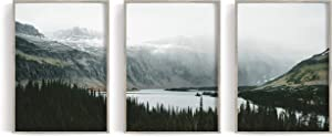 "Nature Print, Mountain Poster, Forest Print, Mountain Print, Forest Poster, Scandinavian Print, River Wall Art (18"" x 24"" x 3 Prints)"