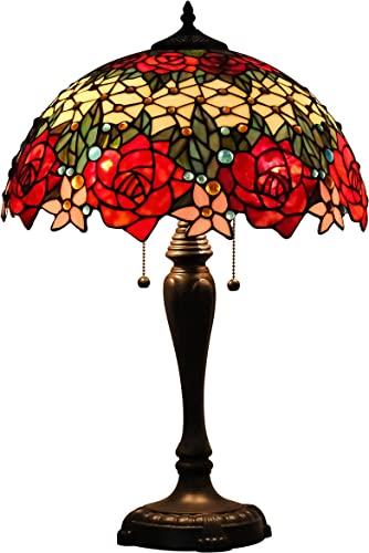 GlassMyth Lighting Tiffany Table Lamp W16H25 Inch Red Rose Stained Glass Shade Light Antique Base