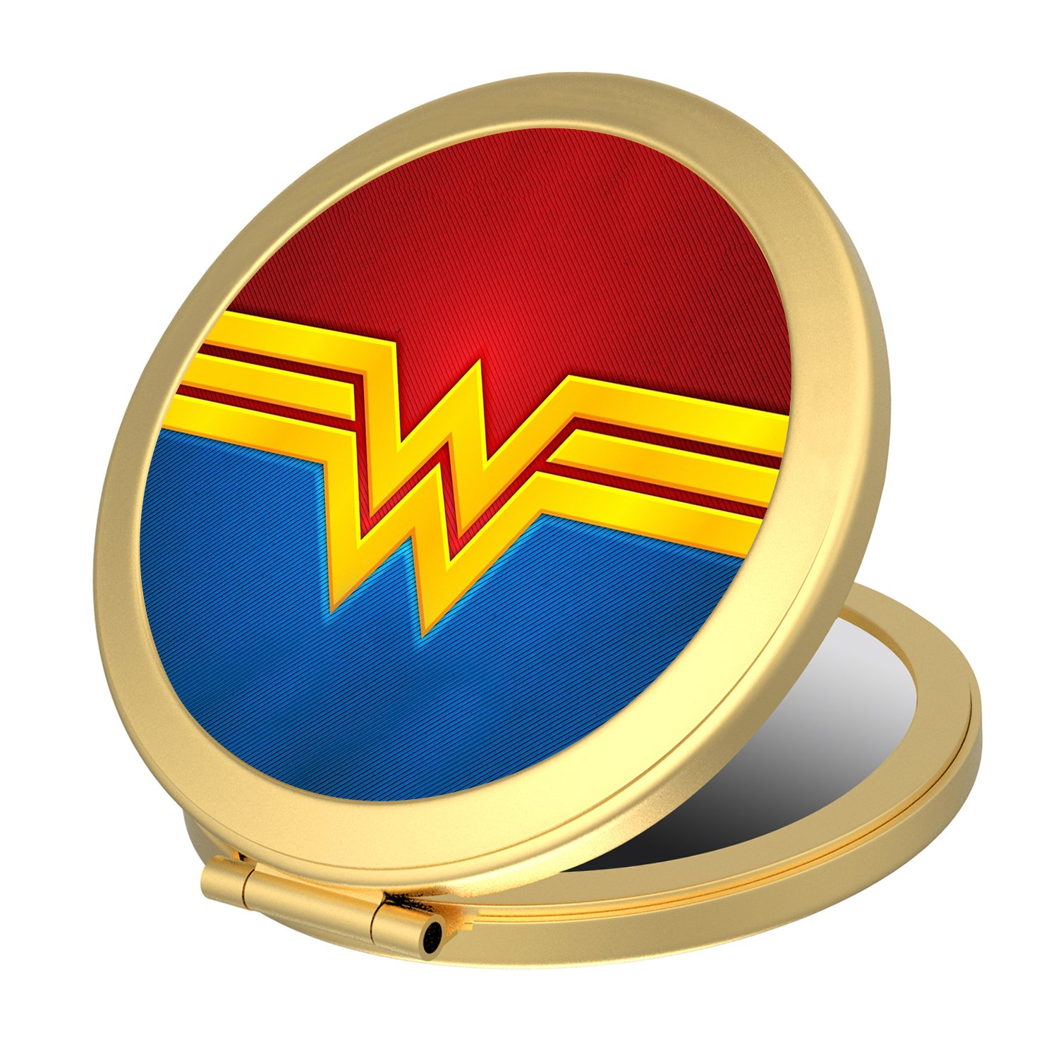 Double Sided Round Compact Mirror, Wonder Woman Small Makeup Mirror Pocket-size for Purses and Travel, Elegant Handheld Makeup Mirror