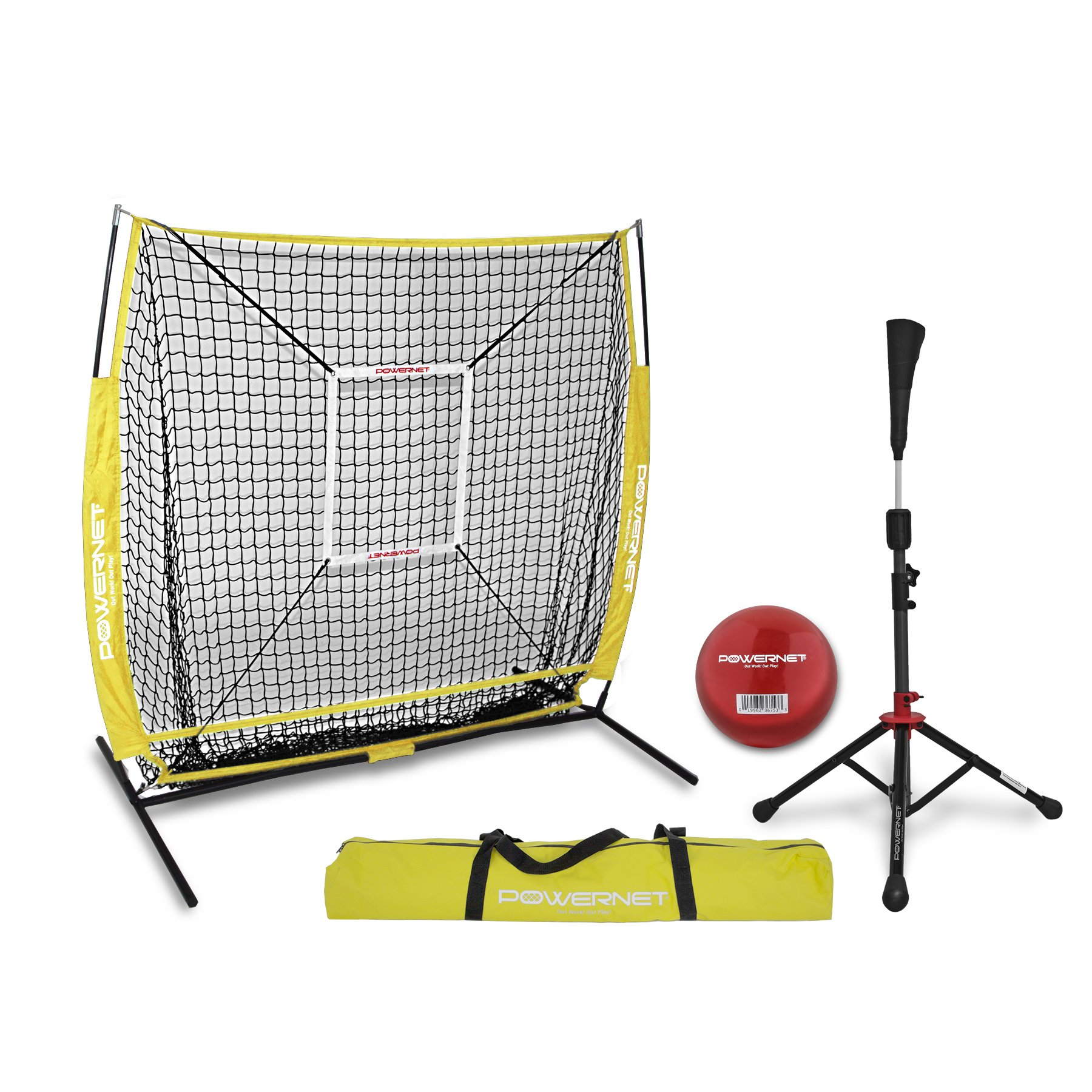 PowerNet 5x5 Practice Net + Deluxe Tee + Strike Zone + Weighted Training Ball Bundle (Yellow) | Baseball Softball Pitching Batting Coaching Pack | Work on Pitch Accuracy | Build Plate Confidence