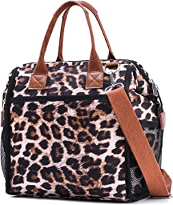Insulated Lunch Box Bag,Lunch Tote Cooler Bag for Women and Men Meal Prep Shoulder Bag Leopard