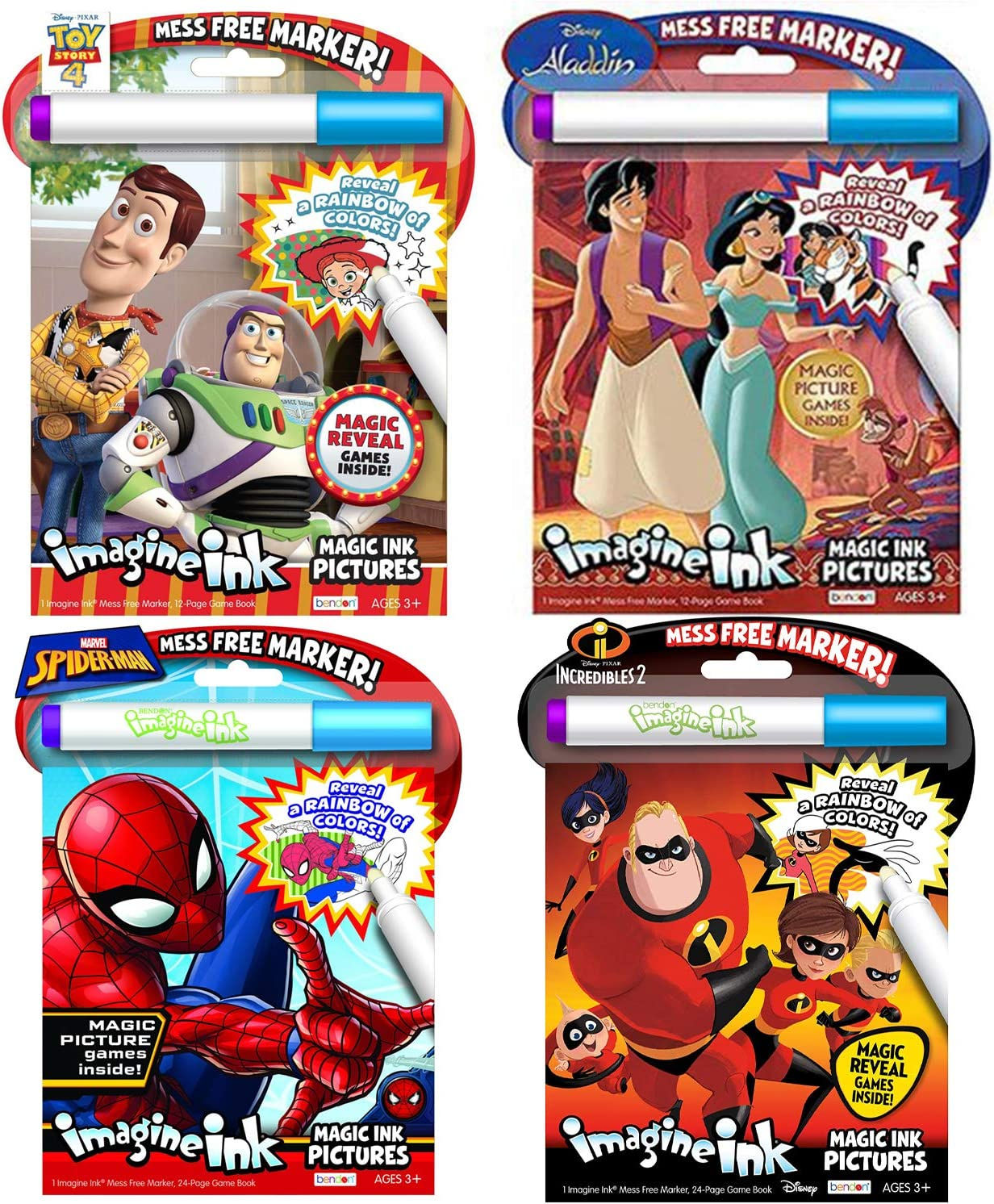 Disney PIXAR No Mess Activity and Coloring Book 4 Pack: Toy Story, Aladdin, The Incredibles, and Spiderman