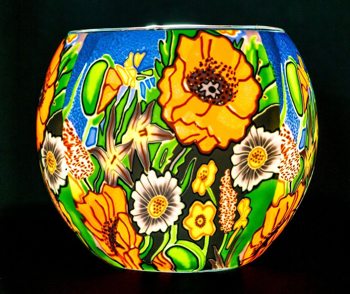Benaya Glass Nightlight Tealight Holder - Poppy Garden Milford Collection