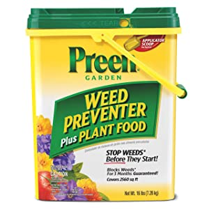 Preen 2164126 Garden Weed Preventer + Plant Food- 16 lb. - Covers 2,560 sq. ft.