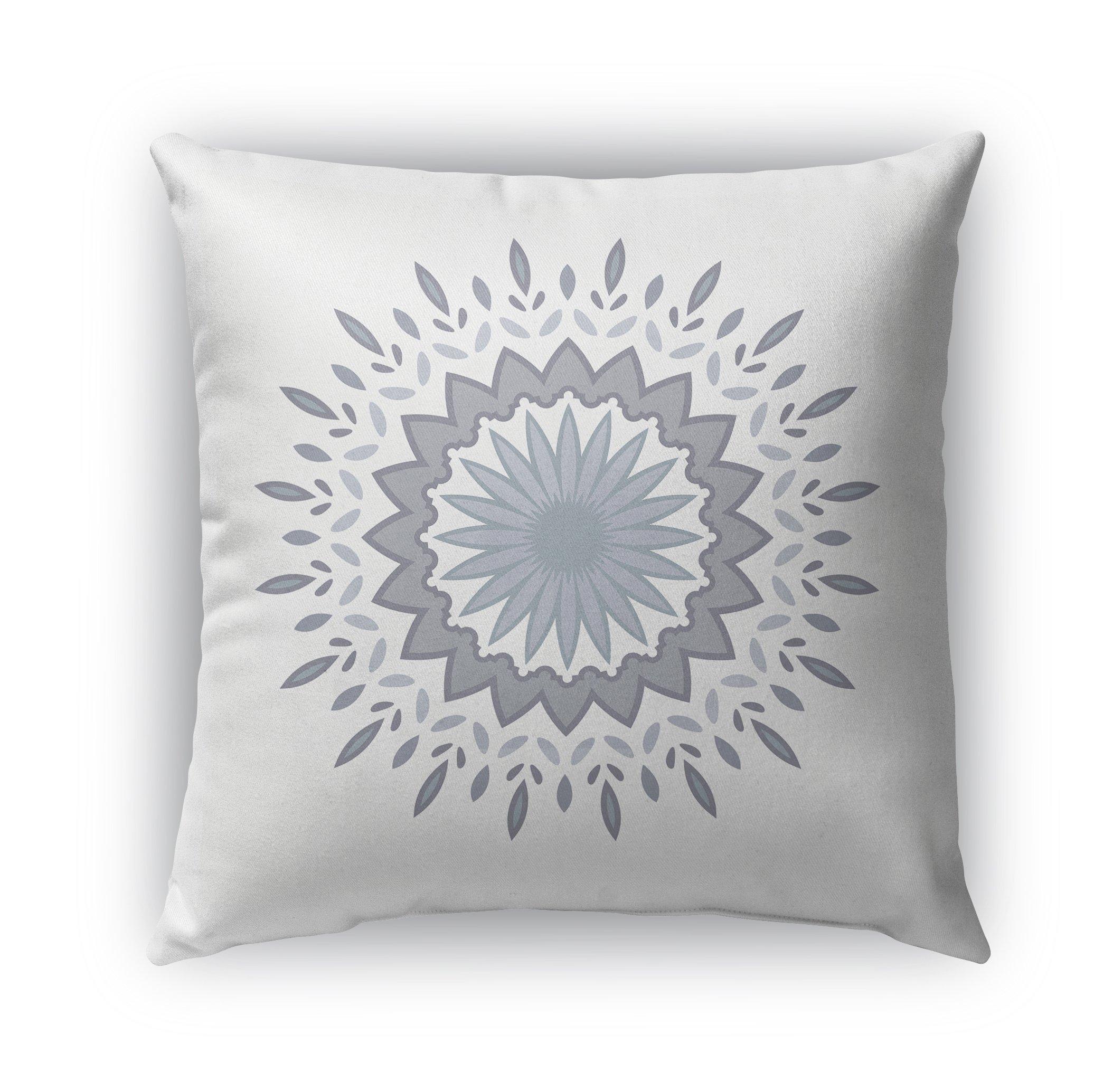 KAVKA DESIGNS Flower Power Indoor/Outdoor Throw Pillow, Grey, Blue - 18'' X 18''