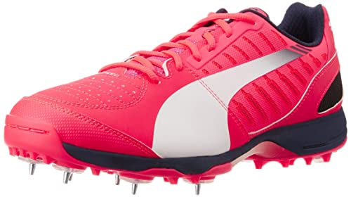 26fcdf809d6 Puma Men s Evospeed Cricket Spike 1.3 White and Pink Cricket Shoes - 11 UK  India