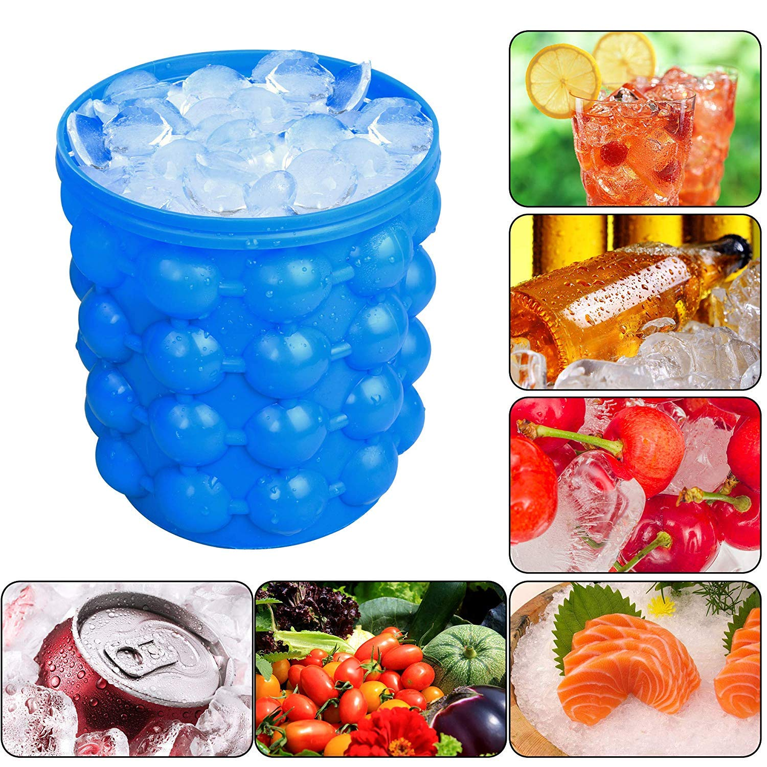 Besmon Ice Bucket,Large Silicone Ice Bucket & Ice Mold with lid, (2 in 1) Space Saving Ice Cube Maker, Silicon Ice Cube Maker, Portable Silicon Ice Cube Maker (Blue) by Besmon