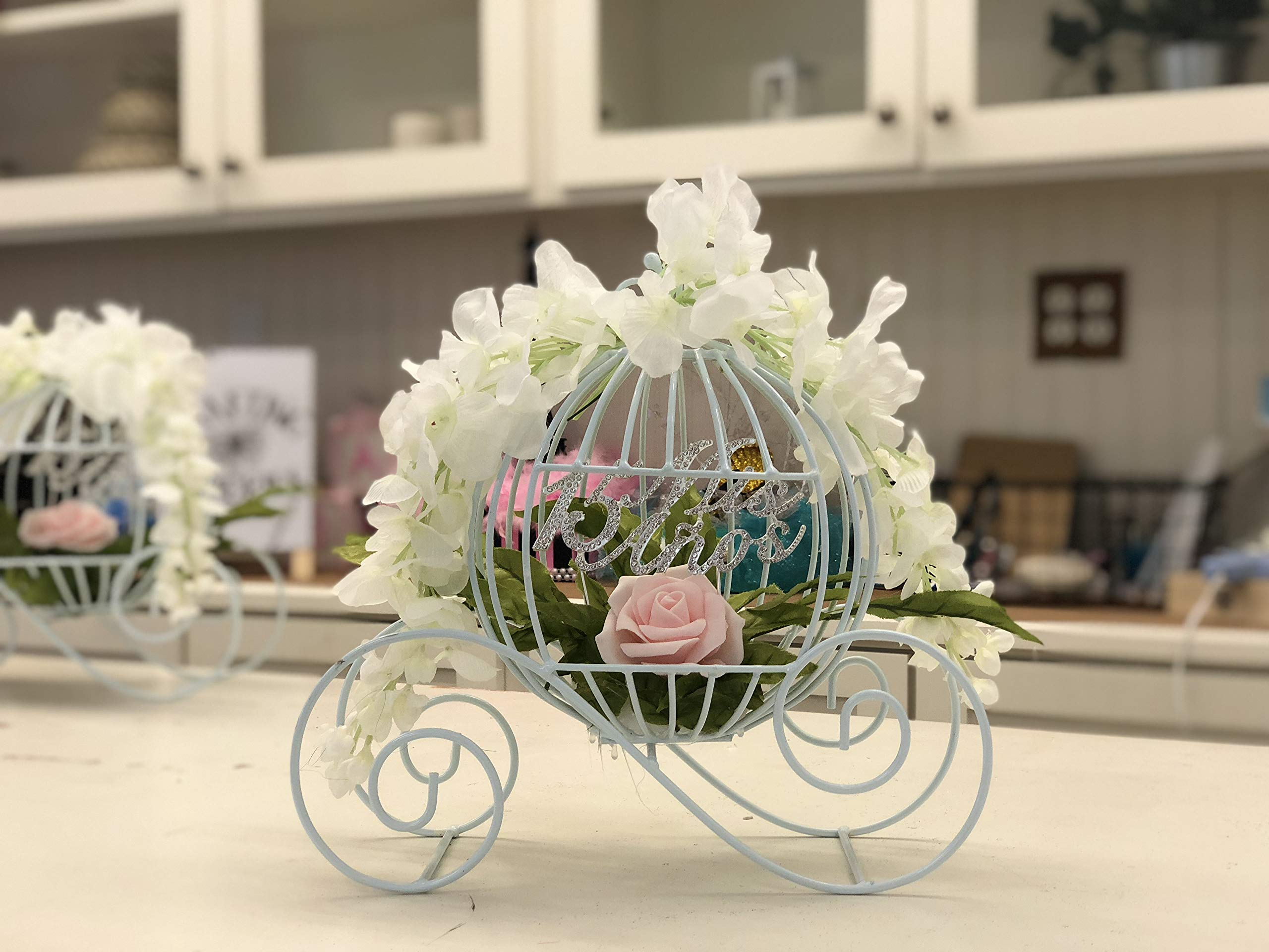 Decorative White Metal Cinderella Carriage for Decorations, Weddings, Sweet 16, or Table Centerpieces (Small - 12'' Inches)