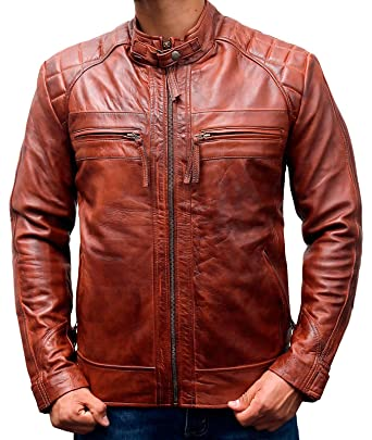 7a5631f6378 The American Fashion Men s Classic Diamond Motorcycle Biker Brown  Distressed Vintage Leather Jacket