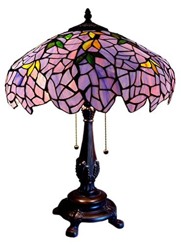 Chloe Lighting CH16828PW16-TL2 Tiffany-Style 2-Light Wisteria Table Lamp with 16 Shade