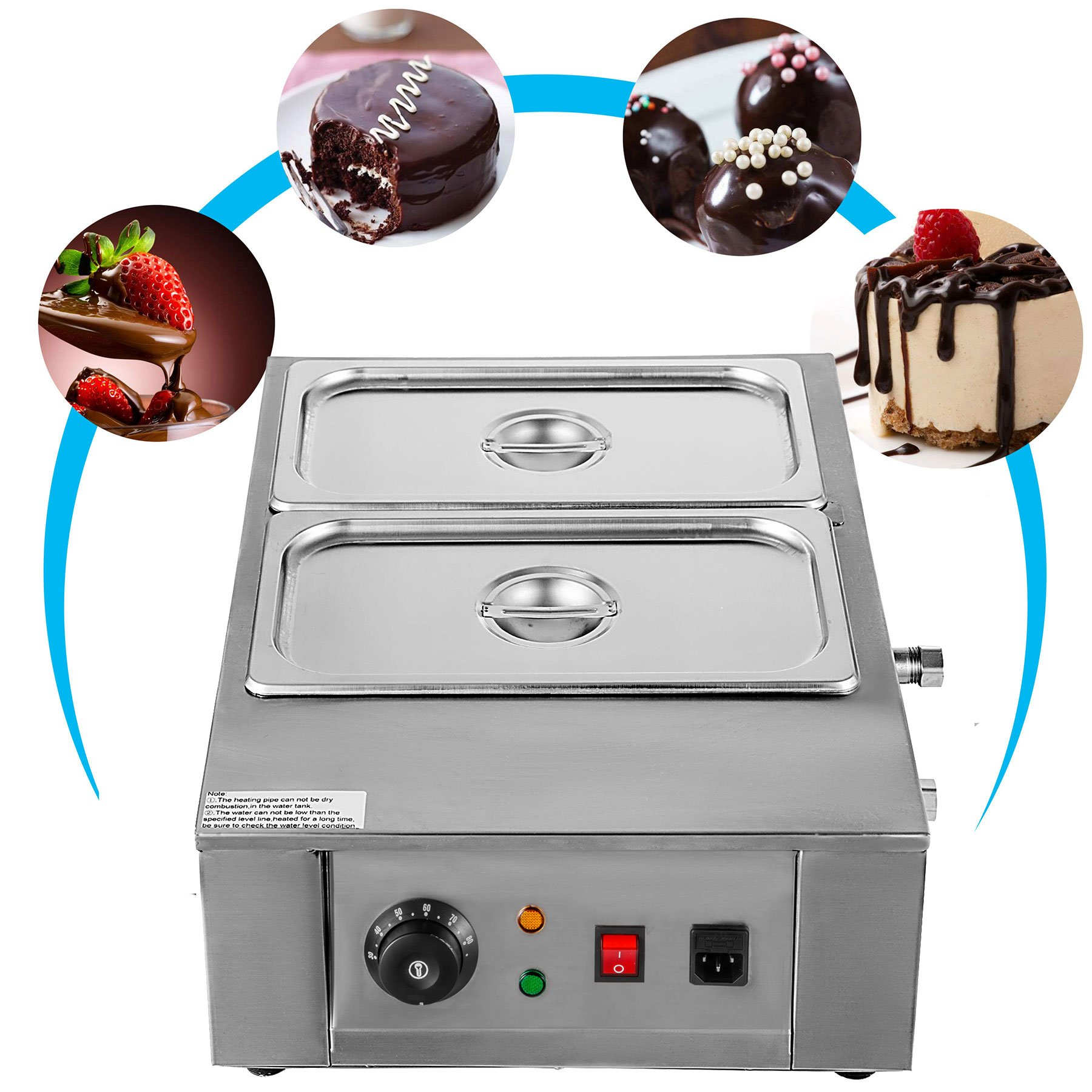 VEVOR 1000W Electric Chocolate Melting Pot Machine 2Tanks Commercial Electric Chocolate Heater Digital Control Two Pan Electric Chocolate Melter