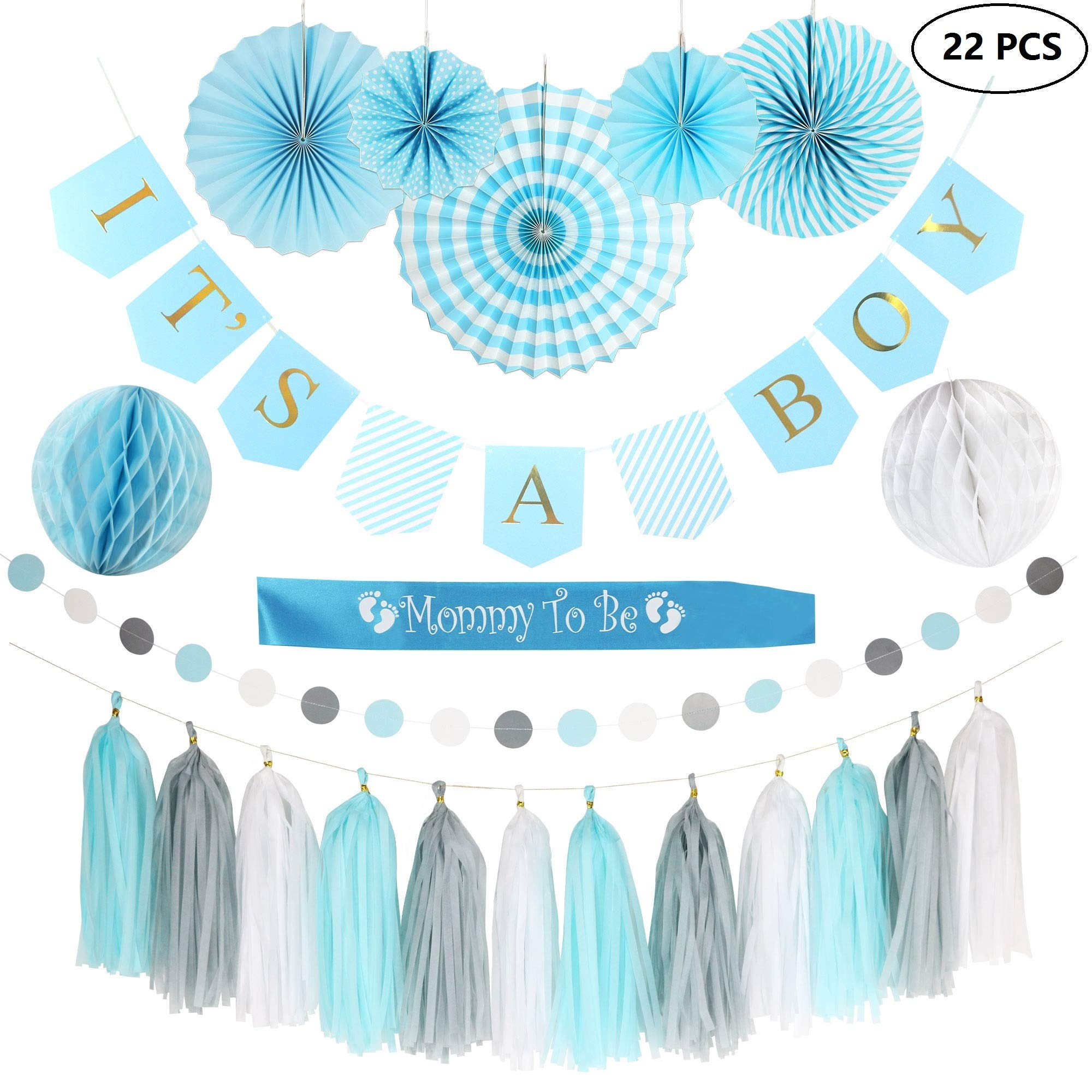Baby Shower Decorations for BOY!| It's A Boy Gold Foil Banner| Printable Games & Invitations| Mommy to be Sash| Card Stock Paper Fans| Honeycomb Balls| Tassels | Blue White Grey| Easy & Quick