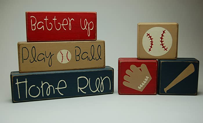 Primitive Country Wood Stacking Sign Blocks Baseball Collection Boys Sports Room Decor Batter Up Play