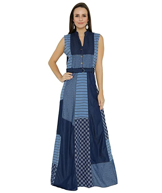 4c511936b1 Shokhi Long Dress for Women - Denim Blue Gown for women Dress for Ladies -  Sleeveless
