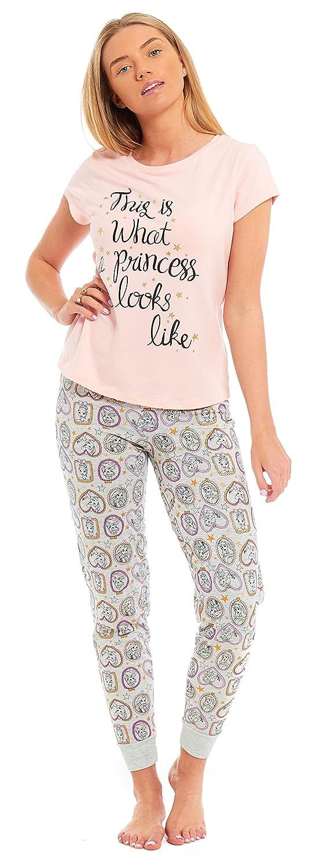 Ladies Penguin 'Snoozing Til Friday' Pyjamas Jersey 100% Cotton Summer PJs Marl Grey w Aqua Loungewear Size UK 8 10 12 14 16 18 20 22