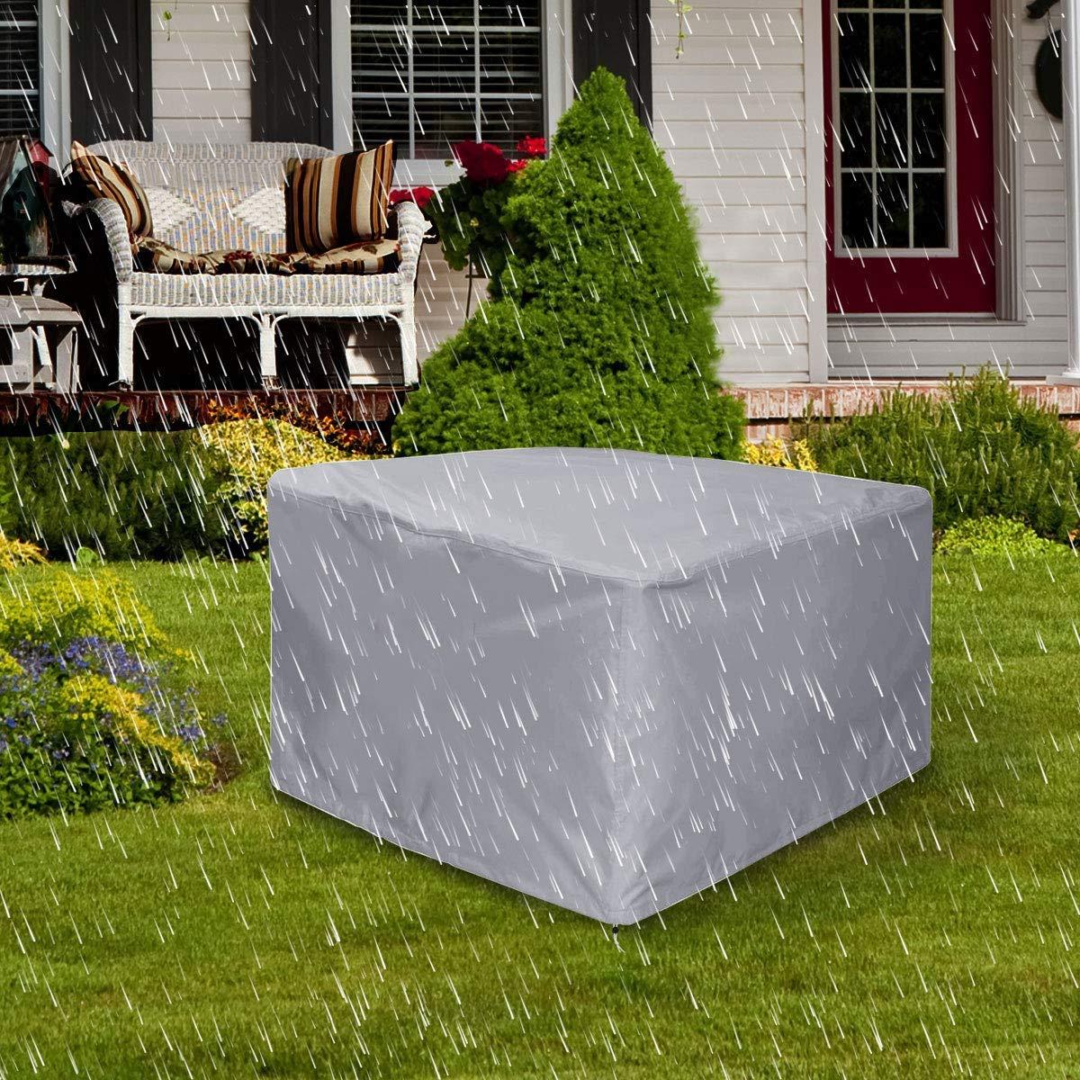 SUNDUXY Copertura Mobili Giardino Rettangolare Impermeabile Telo Protettivo per Tavolo Anti Vento Sole Neve Tessuto 210D Oxford Copertura per Tavolo da Esterno,Marrone,115x115x70cm