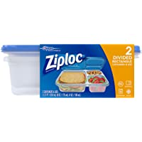 2-Count Ziploc Divided Rectangle Container