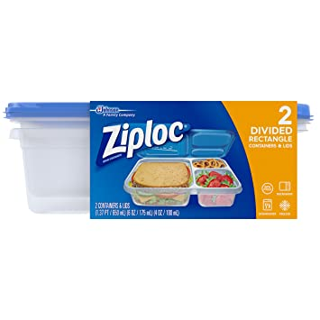 Amazoncom Ziploc Container Divided Rectangle 2 Count Health