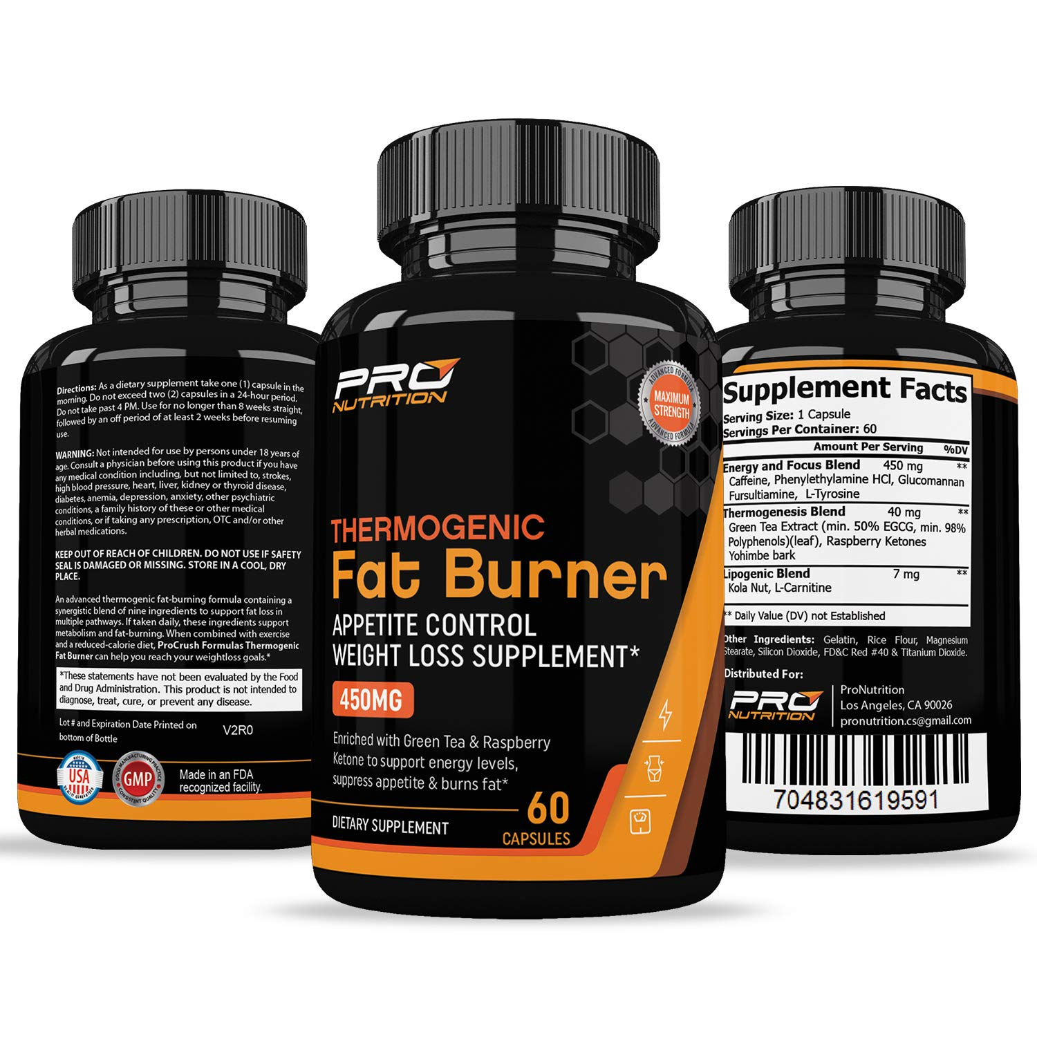 Thermogenic Fat Burner & Appetite Control Weight Loss Supplement- Revolutionary Formula That Increases Metabolism & Burns Fat. Superior Appetite Suppressant & Increases Energy for Men & Women by ProNutrition