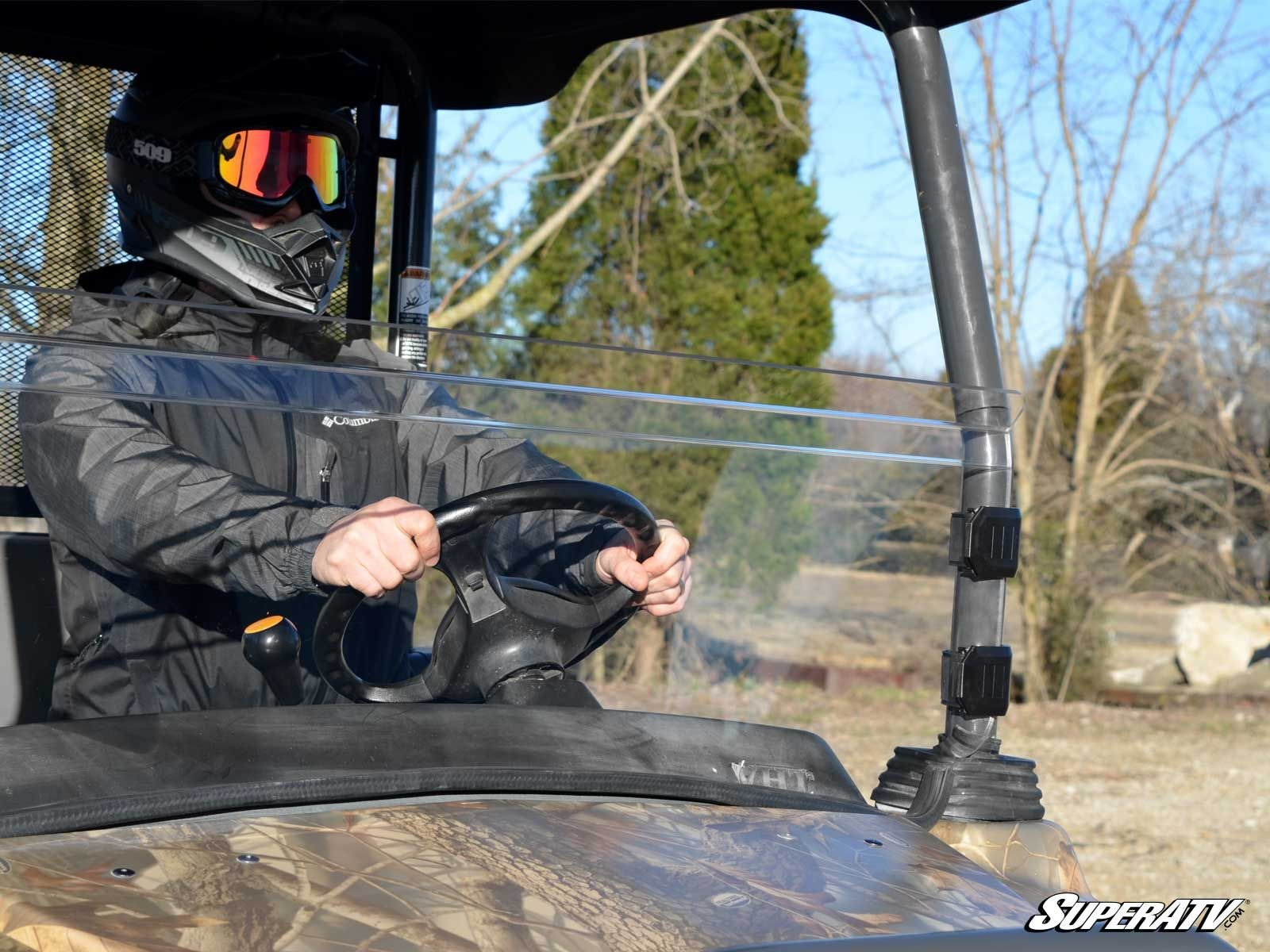MADE IN THE USA! SuperATV Kubota RTV 900 Scratch Resistant Half Windshield and Free Unhinged ATV Hat! by Super ATV (Image #3)