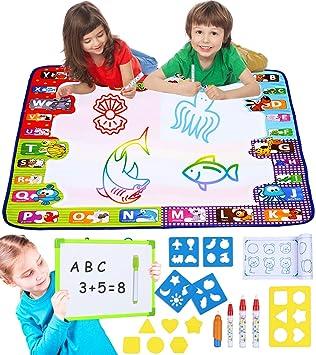 Smarkids Wasser Zeichnen Matte Spielzeug f/ür Kleinkind 7 Farben gro/ßes Ma/ß Aqua Magic Doodle Malmatte Malenlernen Ausbildungswerzeuge Geschenke f/ür Kinder M/ädchen Jung emit Whiteboard