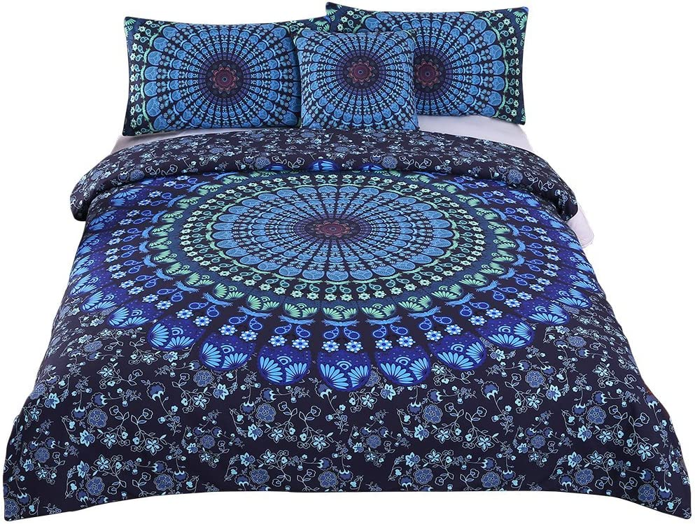 Sleepwish 4 Pcs Mandala Bedding Blue Bohemian Moonlight Bedding Set Shabby Chic Tapestry Duvet Cover Set Queen Size