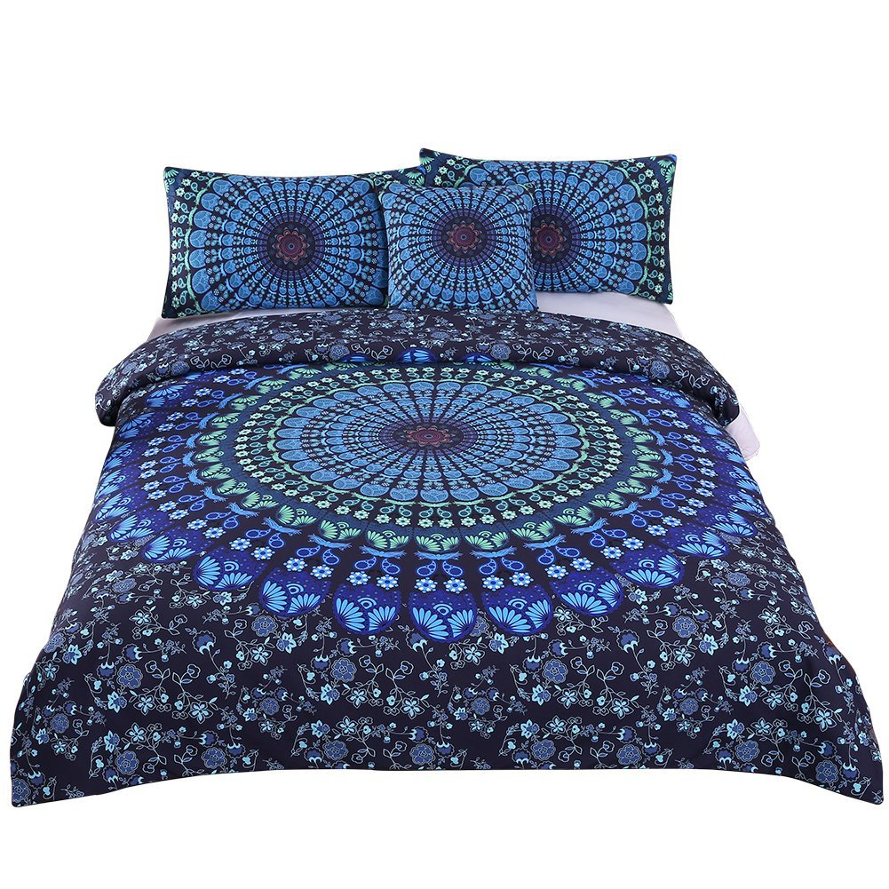Sleepwish 4 Pcs Bohemian Bedding Set Bohemia Blue Mandala Bedding Medallion Duvet Cover Set Cal-King Size
